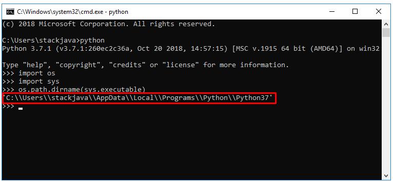 Kiểm tra xem Python cài đặt ở thư mục nào.