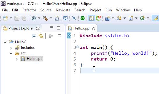Code vi dụ C/C++ hello world
